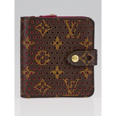 Louis Vuitton Limited Edition Fuchsia Monogram Perforated Compact Zip Wallet
