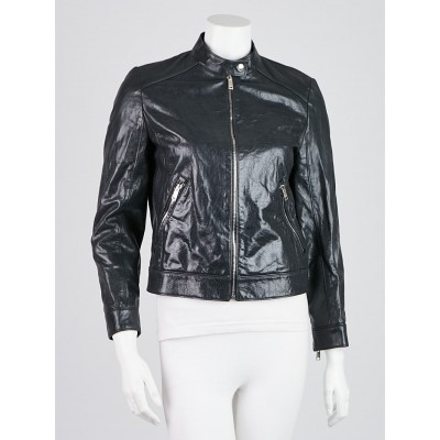 Prada Blue Leather Biker Jacket Size 6/40