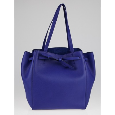 Celine Indigo Blue Calfskin Leather Cabas Phantom Tie Small Tote Bag