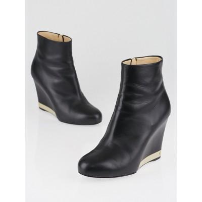 Chanel Black Leather Wedge Ankle Boots Size 6.5/37