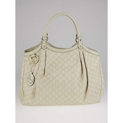 Gucci White Guccissima Leather Large Sukey Tote Bag