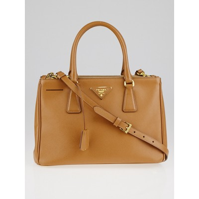 Prada Caramel Saffiano Lux Leather Double Zip Small Tote Bag BN1801