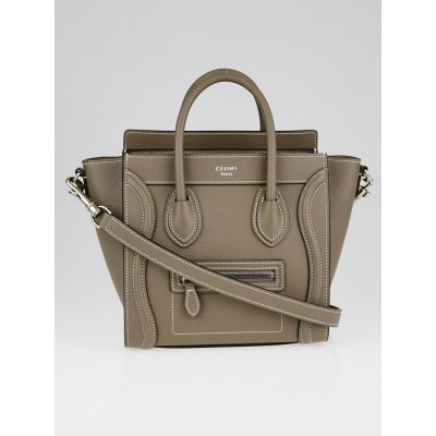 Celine Souris Drummed Leather Nano Luggage Tote Bag