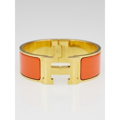 Hermes Orange Enamel Gold Plated Clic-Clac H Wide PM Bracelet