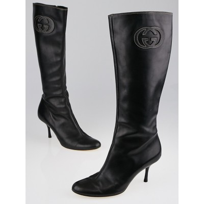 Gucci Black Leather GG Tall High-Heel Boots Size 7.5
