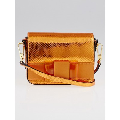 Burberry Bright Poppy Orange Metallic Snakeskin Berkeley Mini Crossbody Bag
