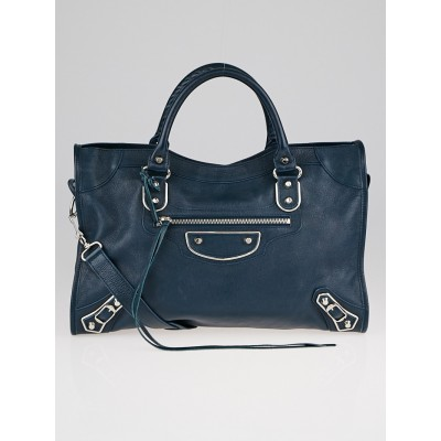 Balenciaga Bleu Paon Grained Chevre Leather Metallic Edge Motorcycle City Bag
