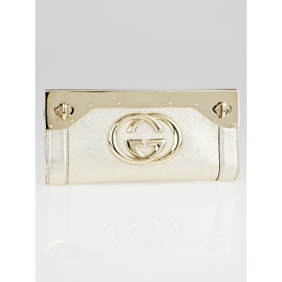 Gucci Gold Leather Interlocking G Starlight Frame Clutch Bag