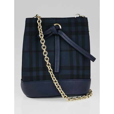 Burberry Blue Carbon Overdyed Horseferry Check Canvas Baby Bucket Bag