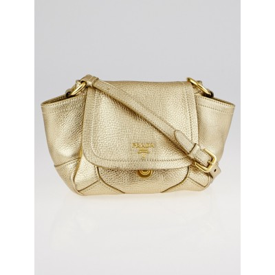 Prada Gold Vitello Daino Leather Mini Crossbody Bag