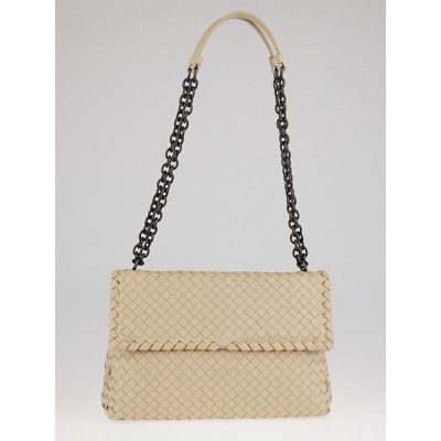 Bottega Veneta Mink Intrecciato Woven Nappa Leather Medium Olimpia Bag