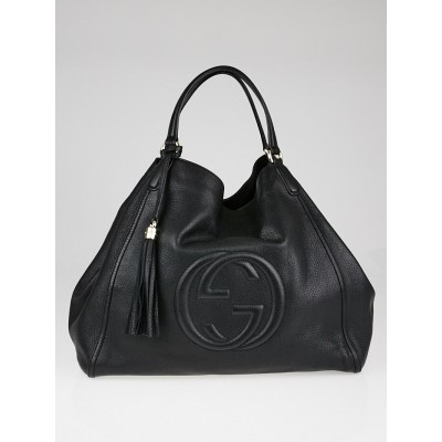 Gucci Black Pebbled Leather Soho Large Top Handle Bag