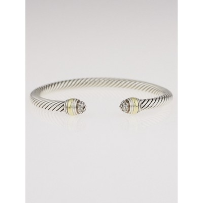 David Yurman 14K Gold/Silver with Diamonds 7mm Ice Cable Bracelet