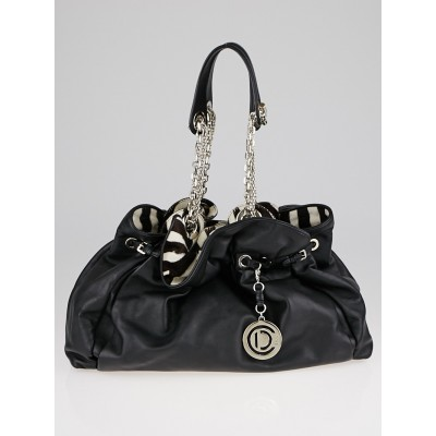 Christian Dior Black Leather and Animal Print Pony Hair Le Trente Bag