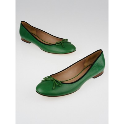 Celine Green Nappa Leather Ballet Flats Size 10.5/41