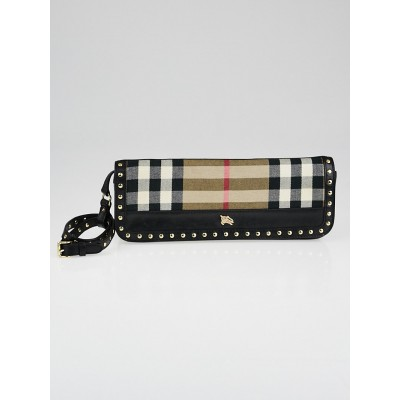 Burberry Black Studded Leather House Check Canvas Wristlet Clutch