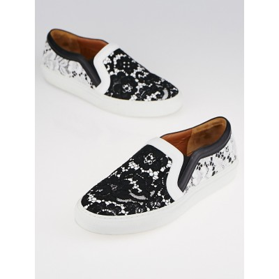 Givenchy Black and White Leather Lace Slip On Sneakers Size 7.5/8