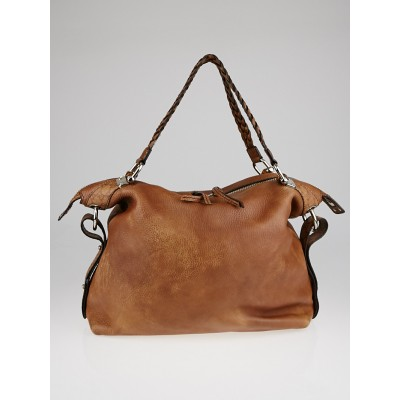 Gucci Brown Leather Bamboo Bar Large Shoulder Bag