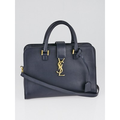 Yves Saint Laurent Navy Blue Calfskin Leather Small Monogram Cabas Bag