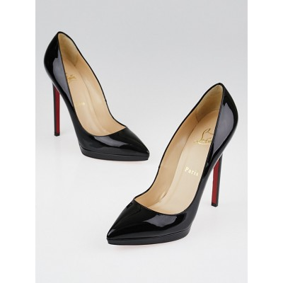 Christian Louboutin Black Patent Leather Pigalle Plato 140 Pumps Size 6/36.5