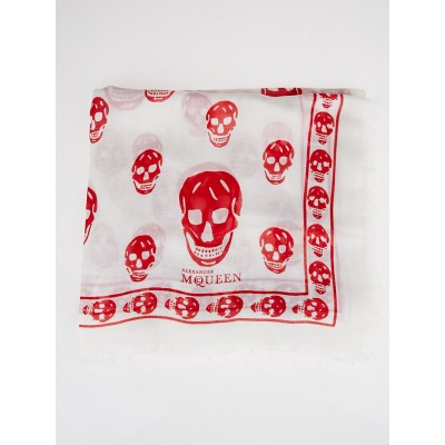 Alexander McQueen White and Red Modal/Silk Skull Scarf