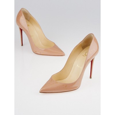 Christian Louboutin Nude Patent Leather and Glitter Pigalle Follies 100  Pumps Size 7.5/38