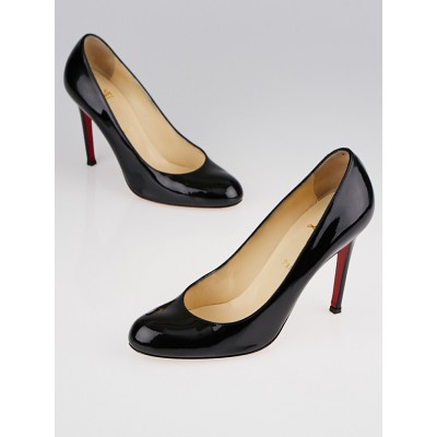 Christian Louboutin Black Patent Leather Simple 100 Pumps Size 7.5/38