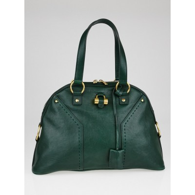 Yves Saint Laurent Dark Green Calfskin Leather Large Muse Bag