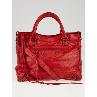 Balenciaga Rouge Lipstick Lambskin Leather Motorcycle Velo Bag