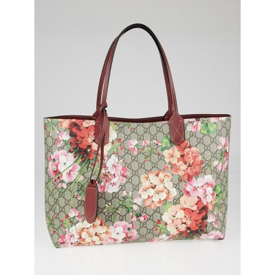Gucci Beige/Pink GG Coated Canvas Supreme Blooms Reversible Tote Bag
