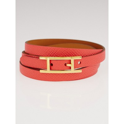 Hermes Bougainvillea Epsom Leather Gold Plated Hapi Triple Tour Bracelet