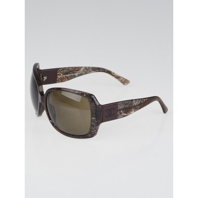 Chanel Bordeaux Print Frame Square Tinted Sunglasses 5145