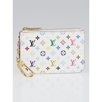 Louis Vuitton White/Litchi Monogram Multicolore Pochette Cles NM Key Holder
