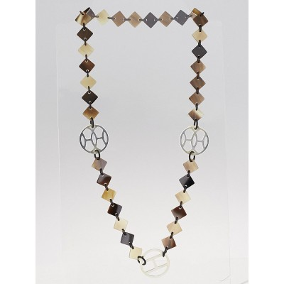 Hermes Buffalo Horn and Sterling Silver Lena Necklace
