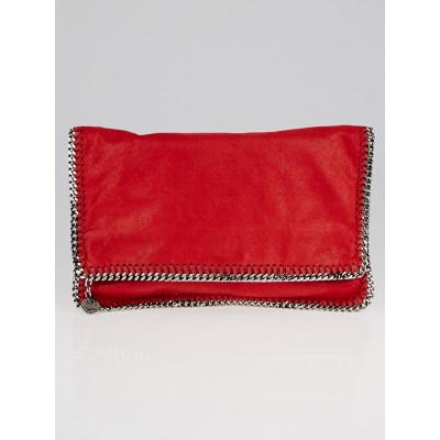 Stella McCartney Red Shaggy Deer Faux-Leather Falabella Fold Over Clutch Bag