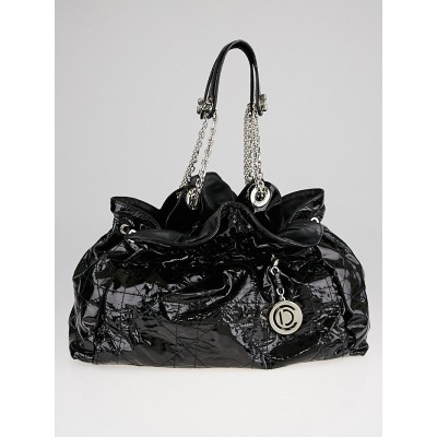 Christian Dior Black Patent Leather Quilted Cannage Le Trente Bag
