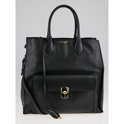 Balenciaga Black Calfskin Leather Padlock All Time Tote Bag