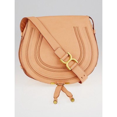 Chloe Coral Pop Pebbled Leather Large Marcie Crossbody Bag