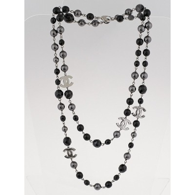 Chanel Black/Grey Beaded CC Long Necklace