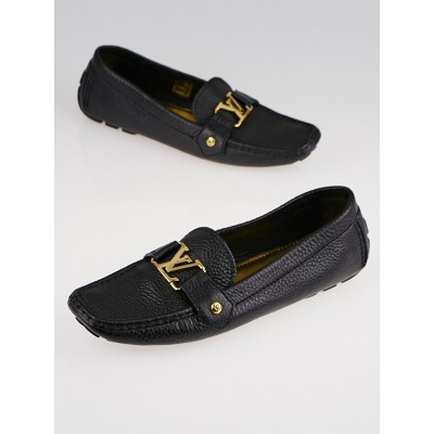 Louis Vuitton Black Pebbled Leather Driving Loafers Size 8.5/39