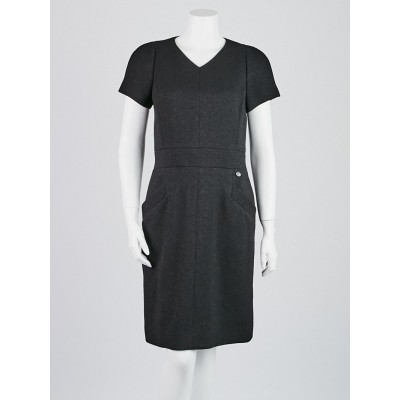 Chanel Black Wool and Nylon Short Sleeved Dress Size 6/38