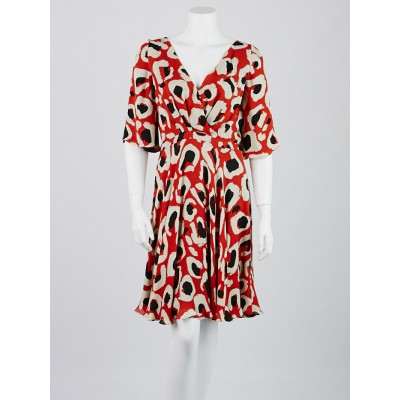 Gucci Orange/Black Printed Silk V-Neck Dress Size 8/42