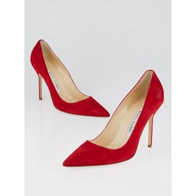 Manolo Blahnik Red Suede BB 105 Pumps Size 8.5/39