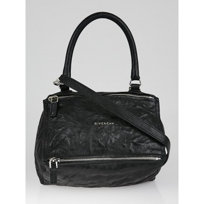 Givenchy Black Wrinkled Sheepskin Leather Small Pandora Bag