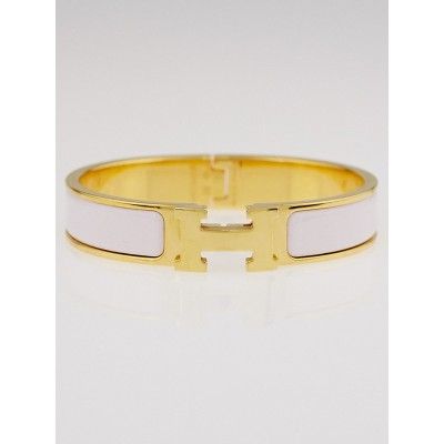 Hermes Light Pink Enamel Gold Plated Clic-Clac H PM Narrow Bracelet
