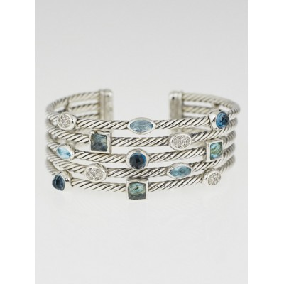 David Yurman Sterling Silver Five-Row Blue Confetti Bracelet