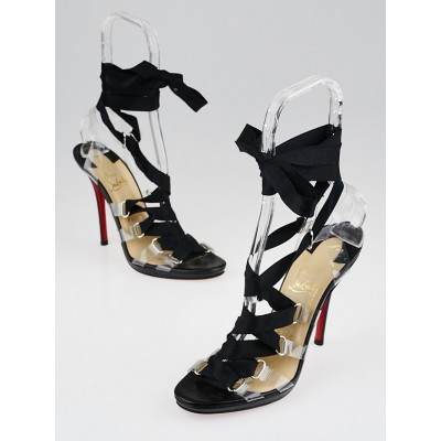 Christian Louboutin Black Satin Lace-Up Nymphette Sandals Size 9/39.5