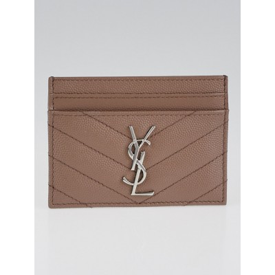 Yves Saint Laurent Tan Quilted Grain Leather Card Case