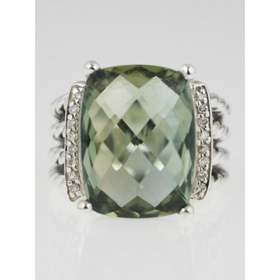 David Yurman 16x 12mm Prasiolite and Diamond Wheaton Ring Size 5
