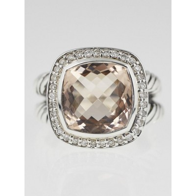 David Yurman 11mm Morganite and Diamond Albion Ring Size 6.5